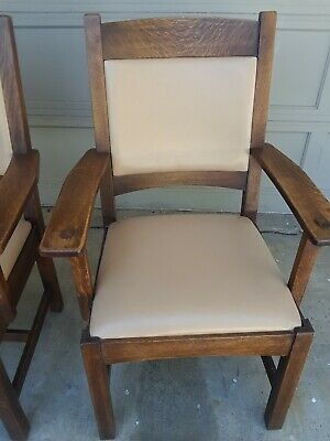 2 Stickley Mission / Arts and Crafts Oak wood Arm Chairs Pair