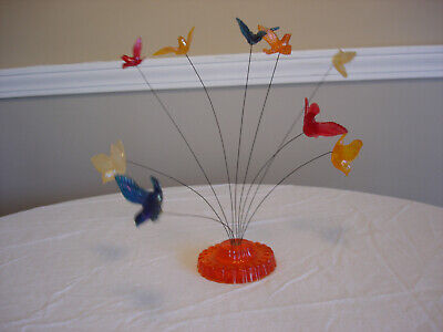 Vintage Lucite kinetic wire bird sculpture retro paperweight by New Designs INC