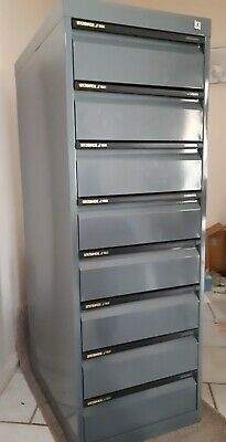 8 Drawer Steel Cabinet Tools Filing Collections Storage. Aust made. Exc Cond