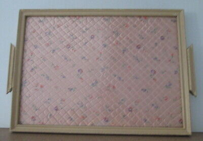 Vintage Shabby Wood Glass Serving Tray Pink Floral Inlay Very Chic Handmade