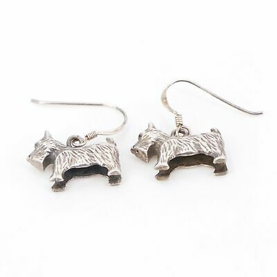 VTG Sterling Silver - Scottish Terrier Puppy Dog Animal Dangle Earrings - 7.5g