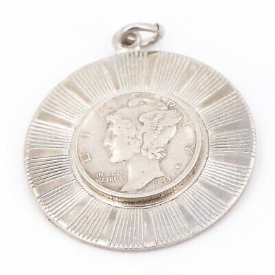 VTG Sterling Silver - Mercury Dime Coin Fluted Disc Pendant - 11.5g