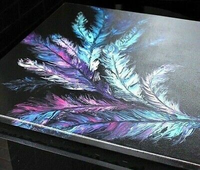 Angel Wings Original Abstract Acrylic Pour Painting Canvas Boho Feather Handmade
