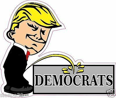 Donald Trump President Calvin Pee On Democrats Funny Decal Sticker