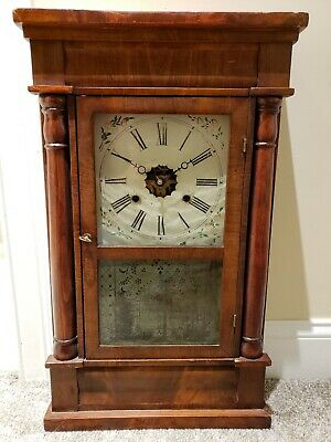 Antique Working 1860's NEW HAVEN CO. OGEE OG Mahogany Weight Driven Mantel Clock