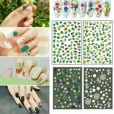 Nail Art Water Decals Transfer Stickers Flower Theme Nails Decoration Tips DIY