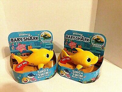 2 (pack) Baby Shark Yellow Robo Alive Junior Sing & Swim Bath Toys for Twins