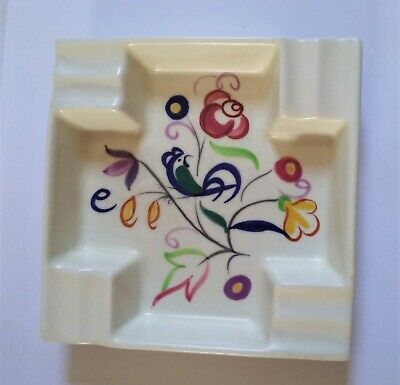 Poole Pottery pin tray / ashtray. Flower & bird motif. Great condition.