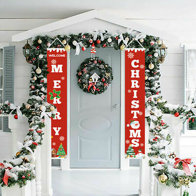 Wall Hanging Curtain Merry Christmas Banner Door Curtain Home Party Decor Supply