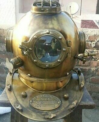 "Reproduction 18"" Diving Helmet Mark V Deep Sea Divers Brass"