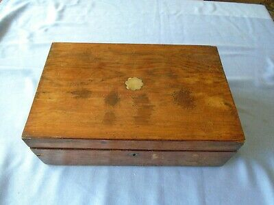 Antique Vintage Mahogany Writing Slope Desk Top  Stationery Storage  Sewing Box