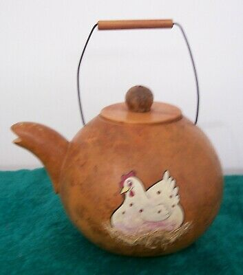 Gorgeous Collectable vintage Gourd Tea-pot. Hand-crafted, hand-painted.