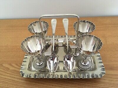 Antique Silver Plated Egg Cup Stand Set Victorian Walker and Hall Sheffield