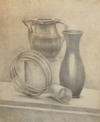 Antique pencil painting still life with vase, pitcher and cup signed