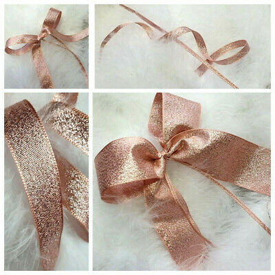 3, 7 15, 25, 40mm BERISFORDS  ROSE GOLD LAME  METALLIC SPARKLY GLITTER RIBBON
