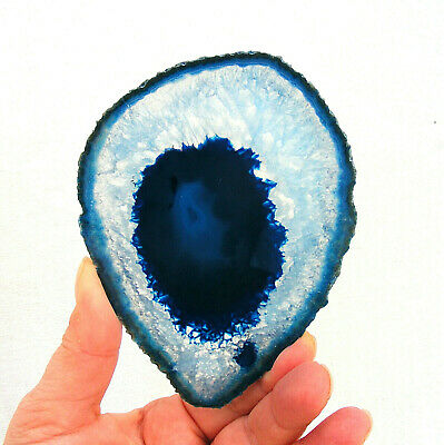 Blue Agate and Quartz Crystal Polished Large Geode Slice 12cm x 9cm