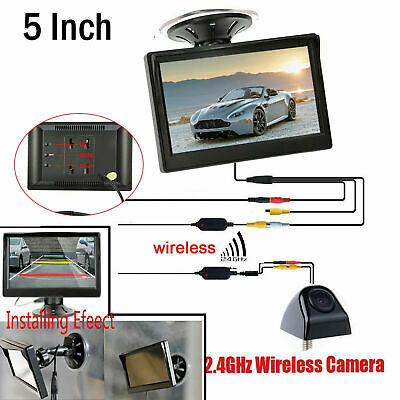 "5"" TFT LCD Car Rear View Monitor Suction Cup + Wireless Reversing Backup Camera"