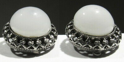 OLD 1920s Signed Lebolt Art Deco 925 Silver Glass Ball Crown Bezeled Earrings