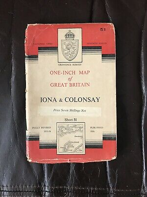 1953-54 Ordnance Survey Map Iona & Colonsay Scotland Published 1956 Sheet 51