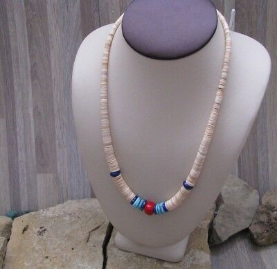 Navajo Made Melon Shell, Turquoise, Lapis, & Coral Graduated Necklace #208
