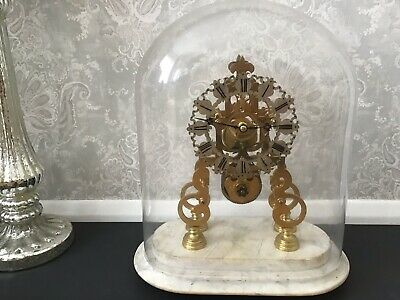 Antique Victorian 8 Day Brass Fusee Skeleton Clock Under Glass Dome