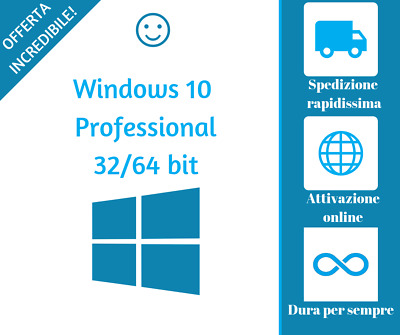 Licenza Windows 10 Pro Professional 32/64 Bit Product Key Full ESD ORIGINALE