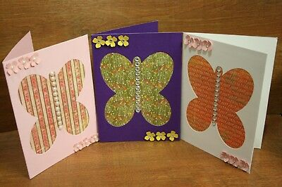 Handmade cards Butterfly  x3