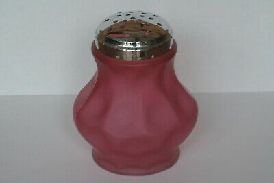 Vintage Fenton Frosted Cranberry Red  Coin Dot Glass Sugar Shaker