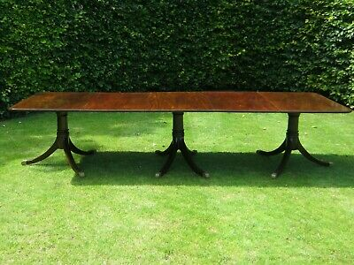 Large 19Th Century 3 Pedestal + 2 Leaves Mahogany Dining Table