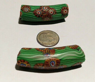 Pair of Antique Venetian Red Center Murine Elbow African Glass Trade Beads