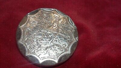 ANTIQUE LATE VICTORIAN SILVER FRONT & BACK ROUND BROOCH PIN c.1900