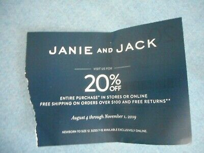 JANIE & JACK COUPON  CODE 20% off Entire Purchase Exp 11/01/19 Cute Kids Clothes