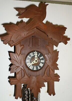 Very Nice Old Rustic German Black Forest Traditional Hand Carved Cuckoo Clock!
