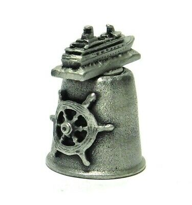 HI-RELIEF ms RYNDAM CRUISE SHIPS PEWTER THIMBLE. TOPPER IS THE RYNDAM