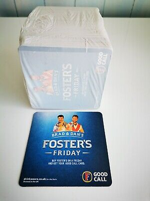 NEW 400 x FOSTERS FRIDAY BEER MATS WITH BRAD AND DAN NOW WITH BONUS BAR RUNNER