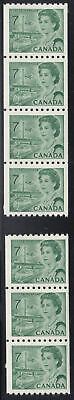 Canada: #549 7c Green HB DEX Centennial Coil Strips (of 3 and 4) Set VF NH
