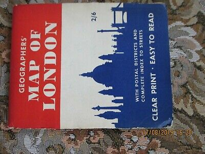 ORIGINAL GEOGRAPHERS MAP OF LONDON + STREETS INDEX  FOLDED 32 SECTIONS 1950s