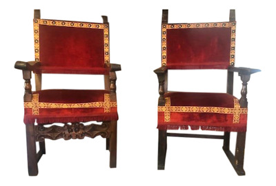 Pair of Antique Spanish Carved and Upholstered Arm Chairs red Fabric.