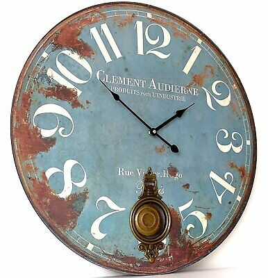 Large Vintage Shabby Chic Clement Pendulum Wall Clock - Duck Egg Blue - BNIB