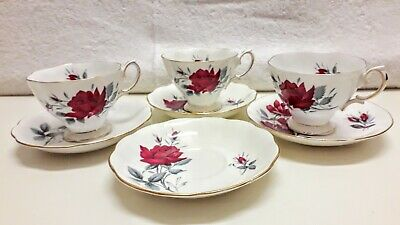 Royal Albert Sweet Romance Fine China Trio of Cups and Saucers with extra Saucer