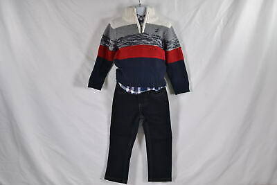Baby Boy's Nautica 3-Piece Set Sweater, Button Up Shirt, and Jean, Cream Taupe
