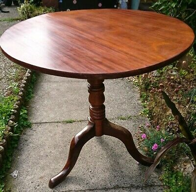 Antique George Iii Mahogany Tilt Top Tripod Wine  / Occasional Table