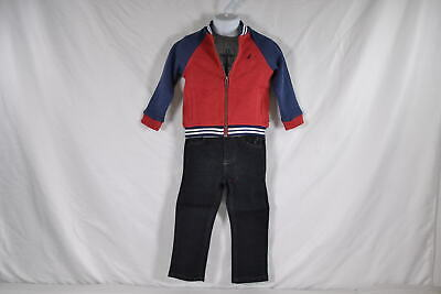 Baby Boy's Nautica Baseball Jacket, T-Shirt, and Jeans 3-Piece Set in Red