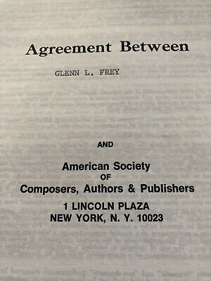 Rare Signed GLEN FREY of The Eagles ASCAP CONTRACT