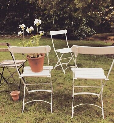 x4 French Antique Vintage Bistro Cafe Folding Lawn Chairs Set Farrow & Ball