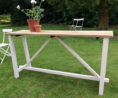 New Swoon Editions Reclaimed Antique Pine Console Trestle Table DeVOL in style