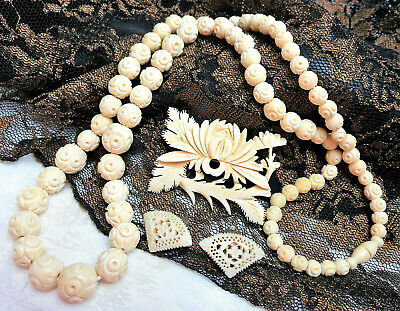 "Antique Vtg Chinese Hand Carved Bovine Bone 26"" Shou Necklace Brooch Earring Lot"