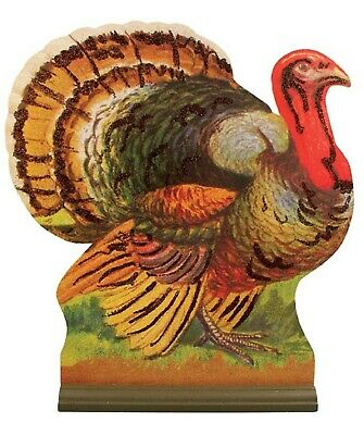 "Bethany Lowe 13"" Thanksgiving Turkey Centerpiece Dummy Board RL9182 New 2 Sided"