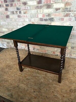 Antique Card Table Foldover Rotating Green Felt Drawer Spiral Leg Games Lounge F