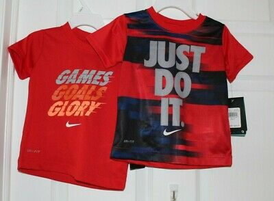 (2)BOYS SZ 2 TODDLER SHORT SLEEVE SHIRTS w/SAYINGS by NIKE-NWT'S